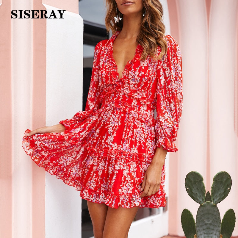 Sexy Back Cut Out Floral Chiffon Dress Women's Romantic Boho Holiday Dress V Neck Beach Party Dresses