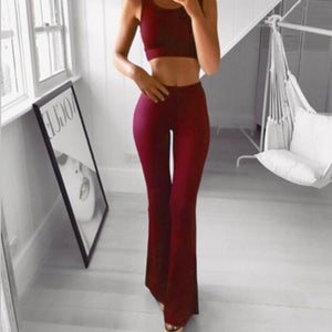 Plus Size Sexy Womens Wide Leg Flared Ladies Bodycon Solid Stretch Trousers 2019