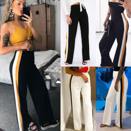 New Fashion Summer Women Casual High Waist Striped Wide Leg Long Pants