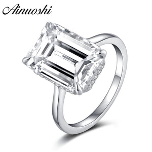 AINUOSHI 6 Carat Emerald Halo Ring Engagement Sterling Silver 925