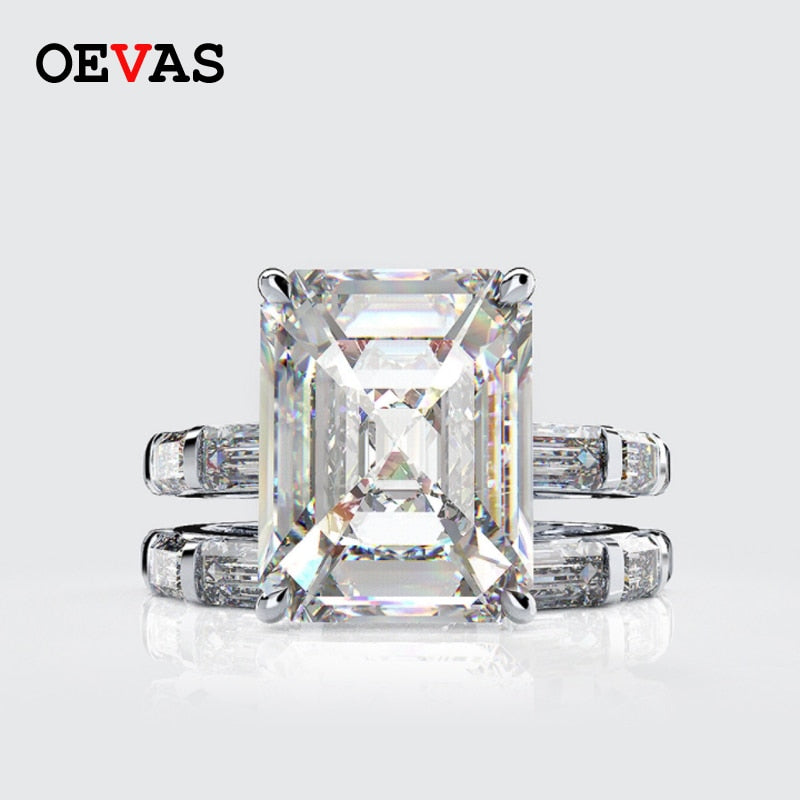 925 sterling silver big AAA Zircon Princess ring set Luxury brand Full CZ White Blue Green Yellow Red  rings