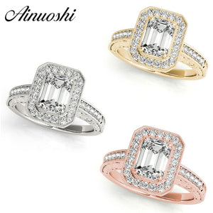 AINUOSHI Fashion 925 Sterling Silver White Gold Yellow Gold Rose Gold Color Silver Ring