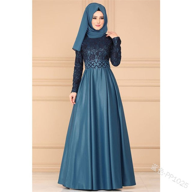 Fashion Women Vintage Arabian Style Elegant Long Sleeve High Waist Maxi Dress Long Dress