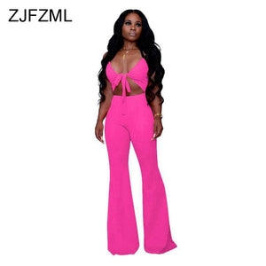 Sexy Deep V Neck Club Jumpsuit Women Sleeveless Hollow Out Bow Neon Green Rompers Summer Backless Skinny Bell Bottom Playsuit