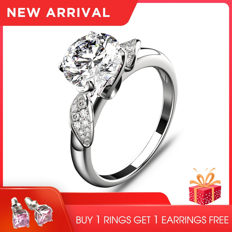 Classic Wedding Engagement Ring For Women Genuine Silver 925 Jewelry