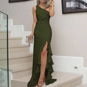 Fashion high waist line elegant evening sexy one-shoulder tight irregular floor length dress