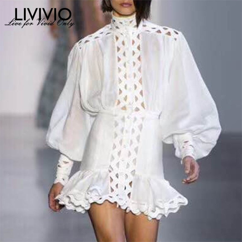 [LIVIVIO  Fashion Women  Lantern Long Sleeve High Waist Hollow Out Ruffle Hem Shirt Dresses