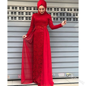 Women Lace Islamic Abaya Long Sleeve Maxi Dress Plus Size Casual Splicing Lace Dubai Maxi Long Dress