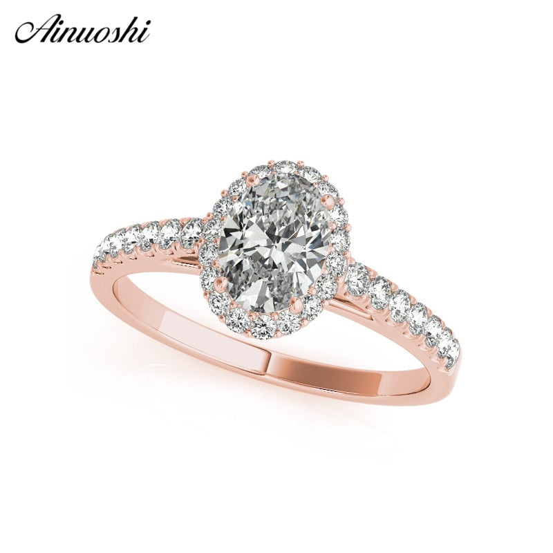 AINUOSHI Halo Fashion 925 Sterling Silver Rose Gold Oval Cut 3ct Ring
