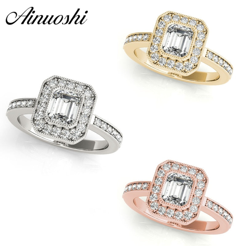 AINUOSHI 925 Sterling Silver Women Ring White Gold Yellow Gold Rose Gold Color Halo 0.5ct Emeralded Cut Ring Aniversary Jewelry