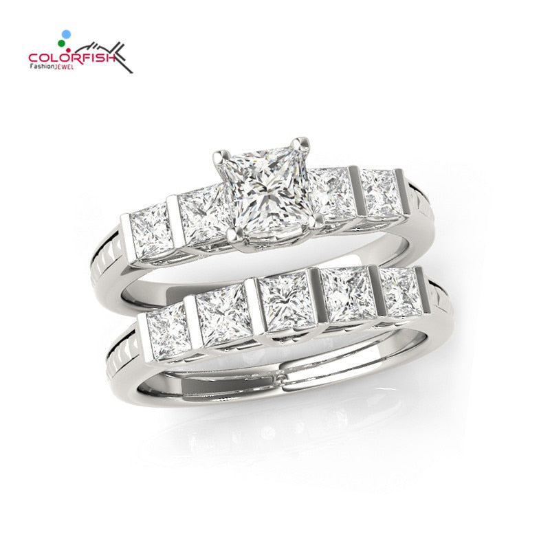 COLORFISH  Genuine 925 Sterling Silver Halo Wedding Ring Set Engagement Band 0.4 Ct AAA Princess SONA Fashion Jewelry For Women