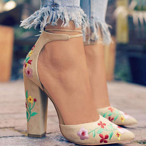 Women's plush high-heeled shoes with flower embroidery with two-piece women's ankle strap