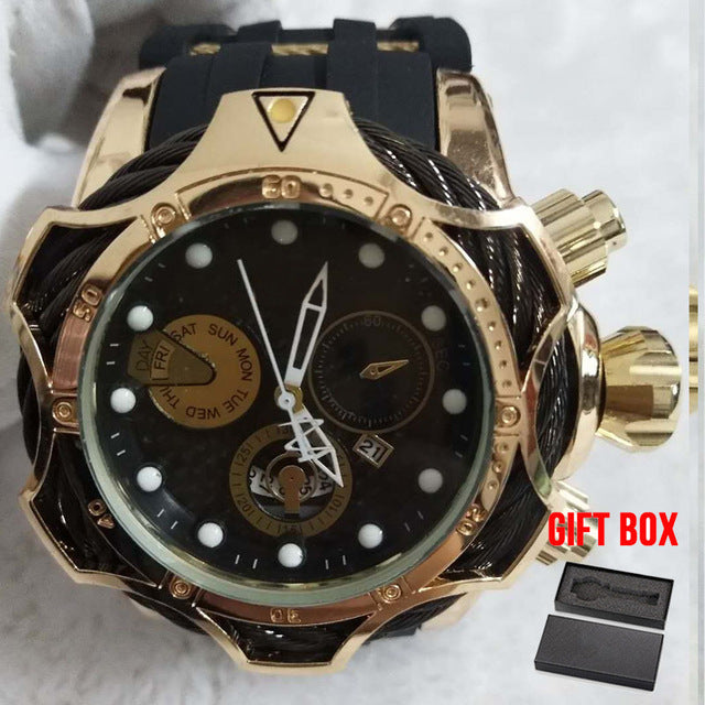 Design Golden Quartz  Military Rubber Wristwatch