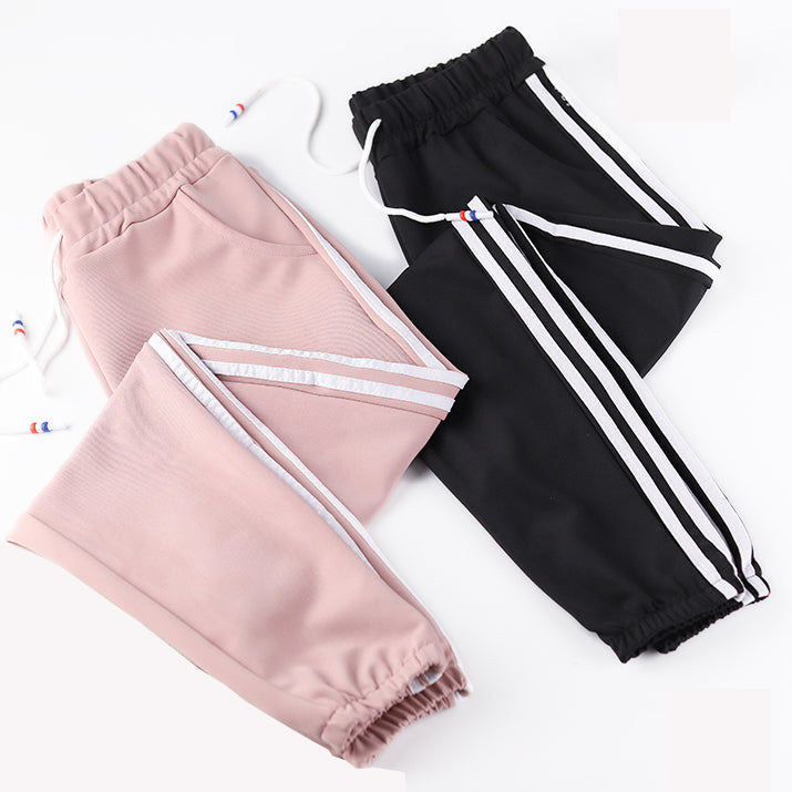 Sweatpants Women Pants Capris Causal Trousers Fitness Loose Harem Pants Ankle-Length Side Stripe Baggy Joggers Pant Female Pink