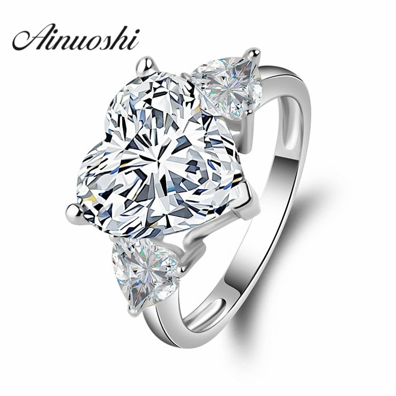 AINOUSHI Big Heart 5 Carat Sona  Jewelry Engagement 925 Sterling Silver