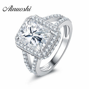 AINOUSHI Luxury 3 Carat Brilliant Rectangle Princess Cut Sona Split Shank Halo 925 Sterling Silver Ring