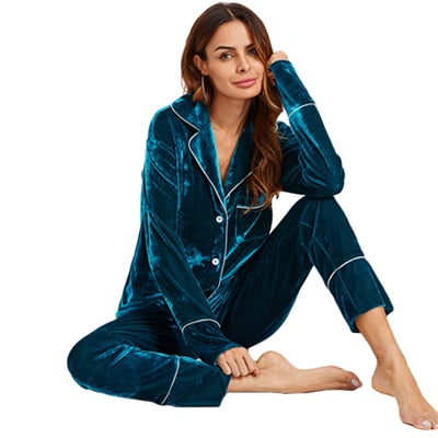 SHEIN Casual Pajamas Blue Long Sleeve Notch Collar Binding Pocket Top and Pants