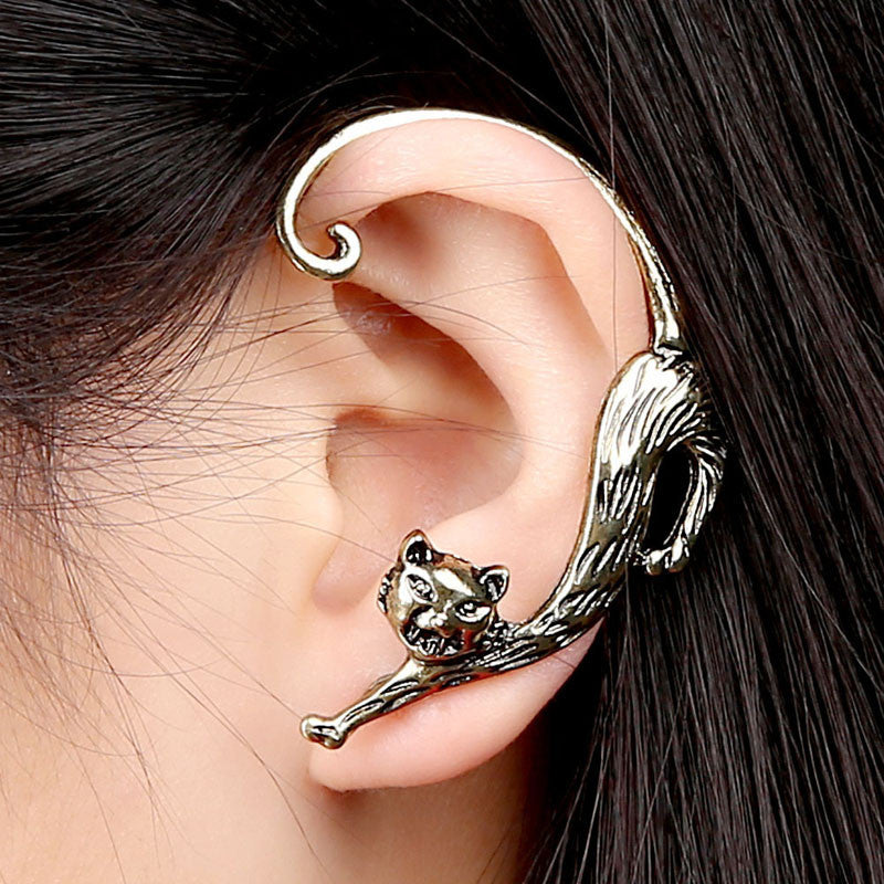 Fashion Gothic Punk Temptation Cat Bite Ear Cuff Wrap Clip Earring GD