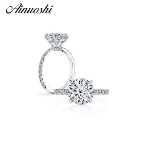 AINUOSHI 3 Carat Round Cut Engagement Ring 925 Sterling Silver Ring Party Anel Aneis Anillos