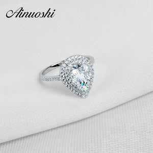 2 Carat Pear Cut SONA Two Halo Sterling Halo Solid 925 Sterling Silver Ring Jewelry Gift