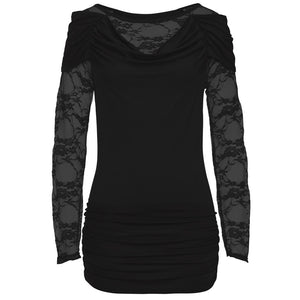 Women's Long Sleeve Lace Patchwork Shirt Casual Blouse Loose Cotton Tops T-Shirt