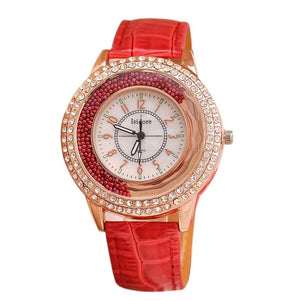 Runer Rhinestone luxury Leather brand women's Watch