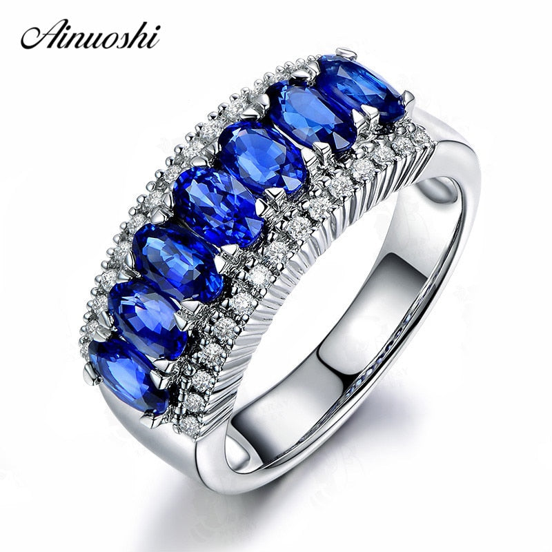 AINUOSHI 0.5 Carat Oval Cut Blue Red Sona Row Drill Ring 925 Sterling Silver White Gold Rose Gold Color