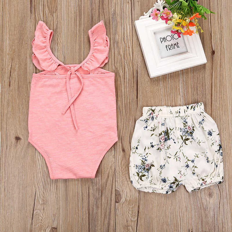 Toddler Baby Girls Outfit Clothes Lace Romper Jumpsuit+Floral Short Pants 1Set