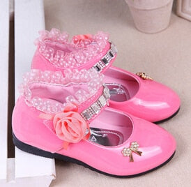 Bekamille Flower Girls Shoes Spring Autumn Princess Lace PU Leather Shoes Cute Bowknot Rhinestone For 3-11 Ages Toddler Shoes