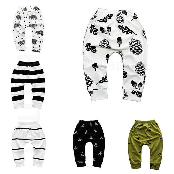 Print Pattern Cotton Baby Harem Pants for Boys Girls
