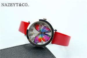 Colorful butterfly Insects dial jelly leather watch luminous hands