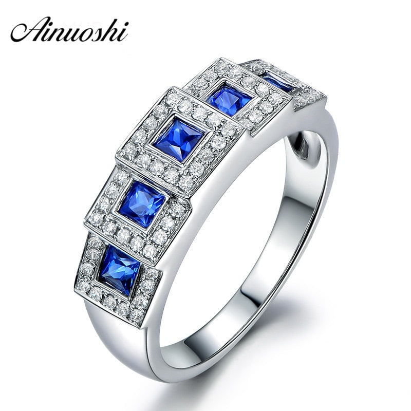 AINUOSHI 0.3 Carat Princess Cut 5 Blue Sona Rings 925 Sterling Silver Women Jewelry