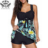 High Cut Swimdress Plus Size Tankini Floral print Ladies Push Up With Shorts Sport Two Pieces 5XL