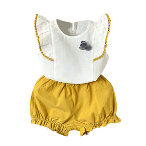2PCS Toddler Kids Baby Girls Summer Outfit Clothes T-shirt Tops+Shorts Pants Set