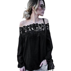 Women Summer Off Shoulder Lace Long Sleeve Tops Casual Blouse T Shirt