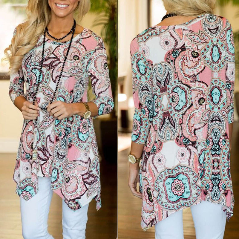 Women's Casual Irregular Printed Long Sleeve Blouse Loose Tops