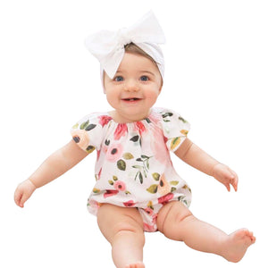 Newborn Infant Baby Girl Floral Short Sleeve Jumpsuit Romper Outfits Clothes