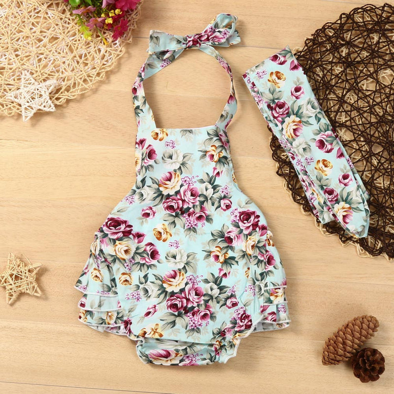 Newborn Baby Girls Romper Floral Print Jumpsuit+Headband Outfit Sunsuit Clothes
