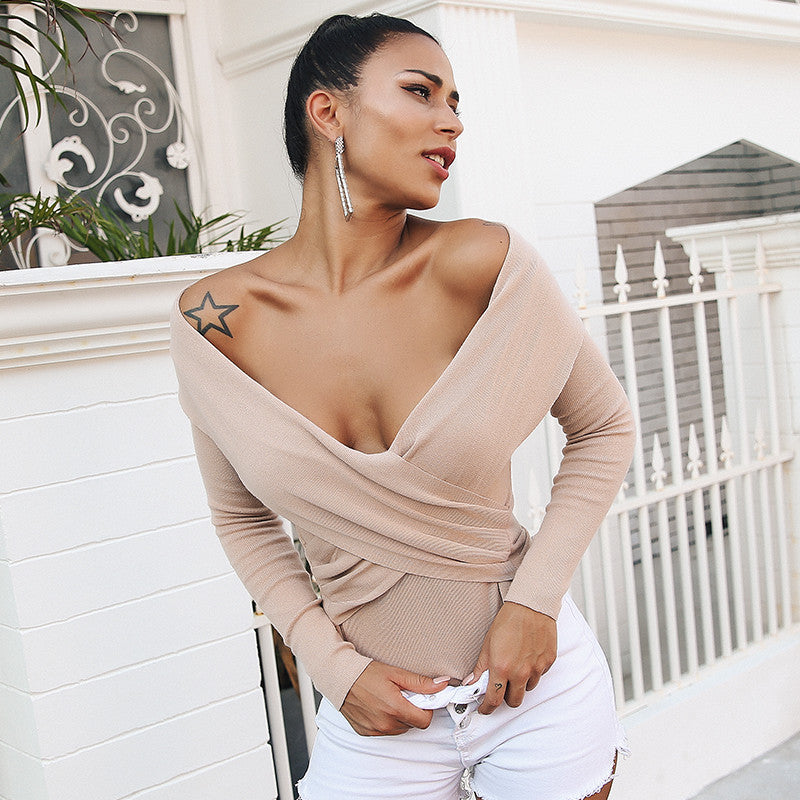 Glamaker Off shoulder criss cross knitting sweater Women casual long sleeve jumper Female party autumn winter pullover femme