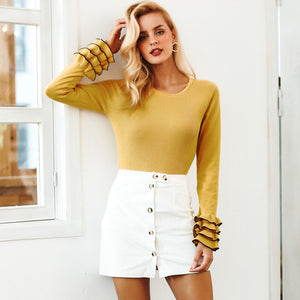 Simplee Sweet knitted ruffles women sweater Elegant butterfly sleeve pullover 2018 Autumn winter casual female jumper streetwear