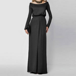 Women Solid Tank Maxi Dress Long Sleeve Casual  Beach Long Maxi Dress