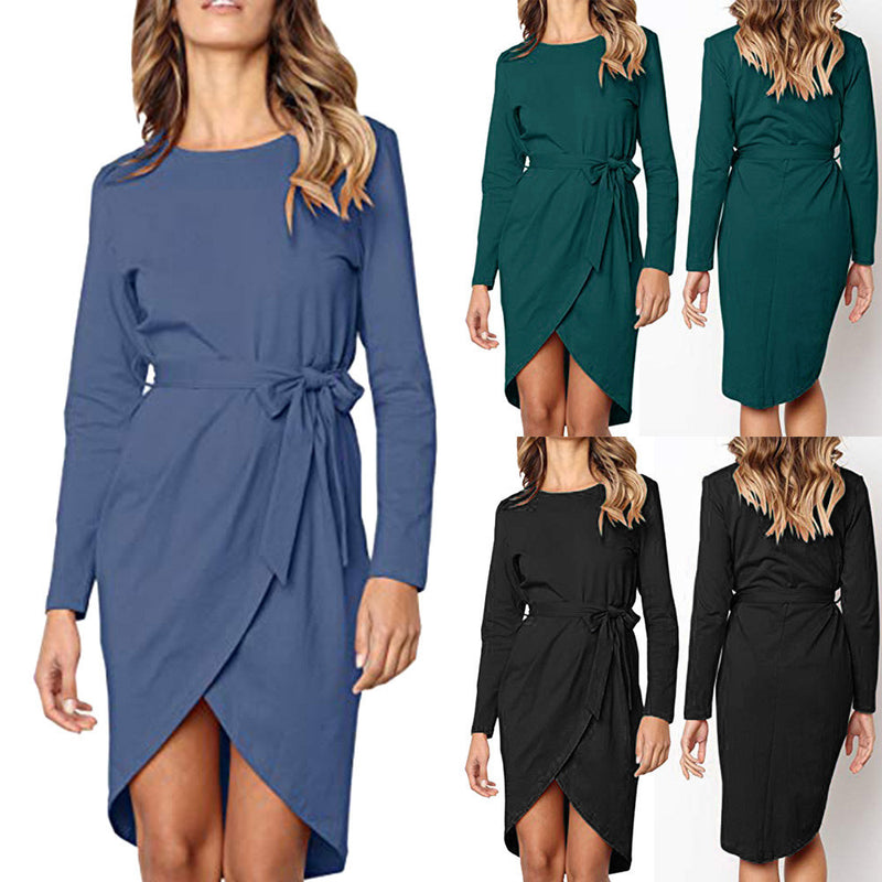 Women's Casual Solid Front Slit Bandage Long Sleeve Wrap Bodycon Mini Dress