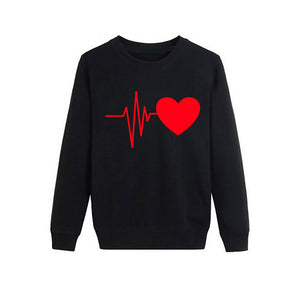 Women Autumn Long Sleeve Heart Printed Sweatshirt Pullover Casual Blouse Tops