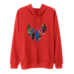 Women Autumn Long Sleeve Feather Printed Sweatshirt Pullover Casual Blouse Tops