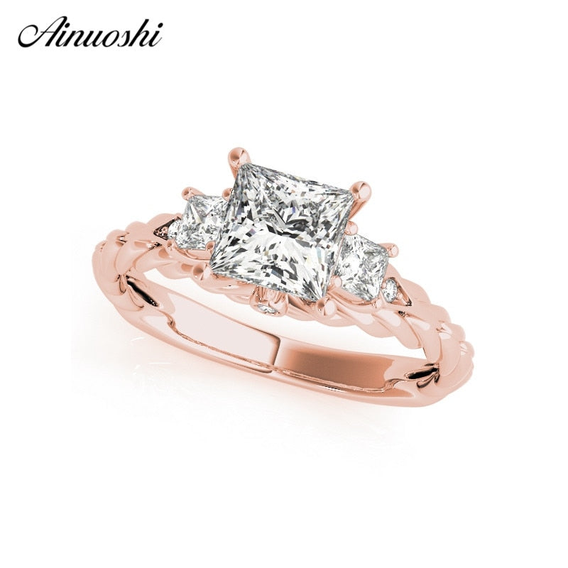 AINUOSHI 925 Sterling Silver Twisted Rose Gold Ring