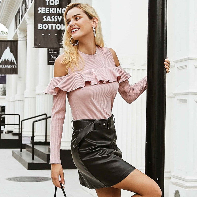 Simplee Elegant pink ruffles knitted pullover Cold shoulder female long sleeve sweater women Sexy autumn winter jumper 2018