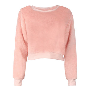 Simplee Sweet pink fluffy coral fleece women sweatshirt Plus size o neck long sleeve casual pullovers Autumn winter warm tops