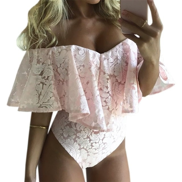 Ruffles Lace Bodysuit Summer Jumpsuits Rompers Off Shoulder Slash Neck Body Beach Overalls Lady Sexy Women Bodysuits 71203