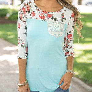 Women Casual Print Floral Long Sleeve Top