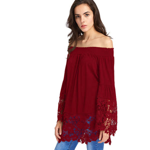 Womens Long Sleeve Off Shoulder Lace Patchwork T-Shirt Casual Blouse Loose Tops